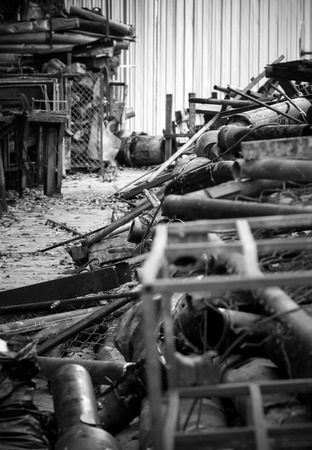 abandon: metal industrial waste from abandon industry in Blackwhite effect