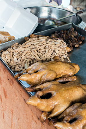 giblets: pot-stewed duck and giblets with gravy sell in local market