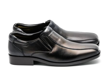 low cut: pair of low cut black leather shoe for men Stock Photo