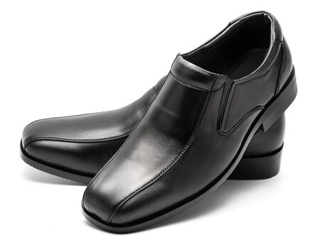 low cut: pair of low cut slip on black leather shoe for men