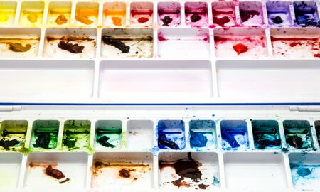 multi color of water color on white color palette Stock Photo