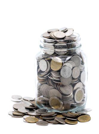 coin saving in a glass jar