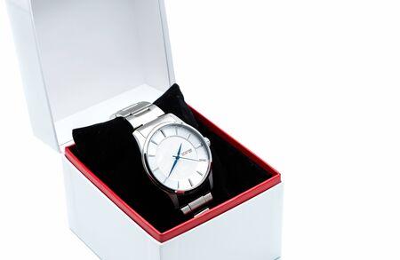 silver wrist watch in a box Stock Photo