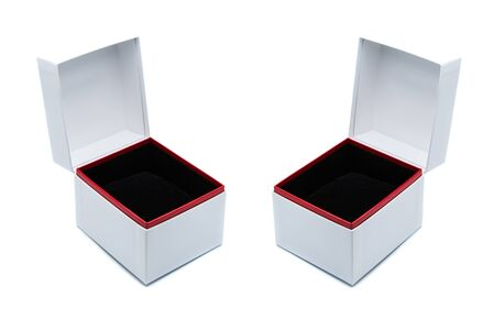 two empty white paper jewelry box with red decoration line