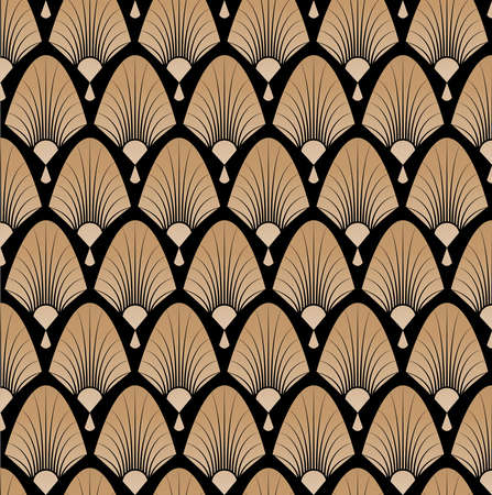 Elegant pattern with fans in style of roaring 20s, art deco, great gatsby. Vector pattern illustration. Vettoriali