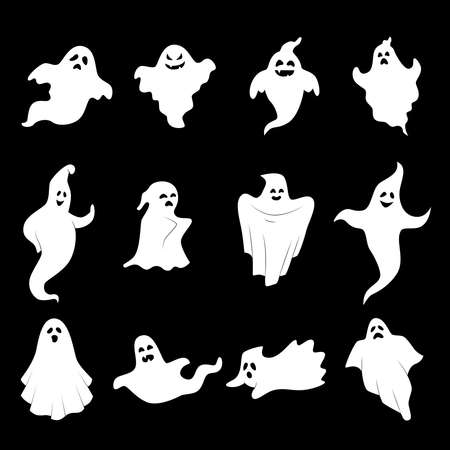 Collection of icons for Halloween - ghosts in different shapes. Vector art.