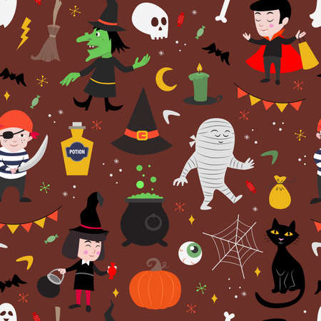 Cute, seamless vector pattern for kids. Halloween holiday.