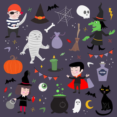 Collection of cute icons for Halloween. Kids style. Ilustração Vetorial