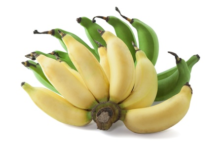 musa: Bunch of green and yellow banana isolated on white background Stock Photo