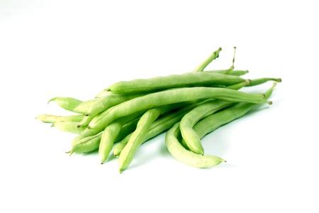 Snap bean on white background photo