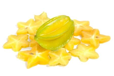 carambola: star fruit or Carambola on white background