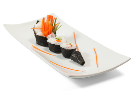 tamaki sushi closeup on white background photo