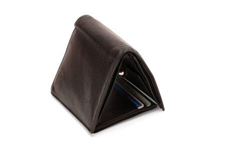 Black leather wallet isolated on white background photo