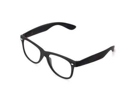 black eyeglasses isolated on white background photo