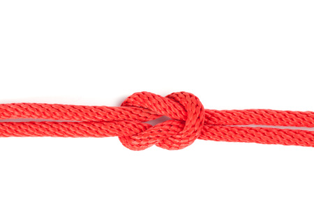 string together: reef knot isolated on white dbackground