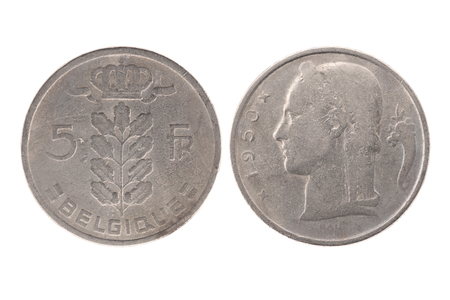 belgique: 1950 Belgium (BELGIQUE) 5 francs coin isolated on white background
