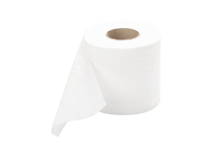 single rolled toilet paper isolated on white background with path 写真素材