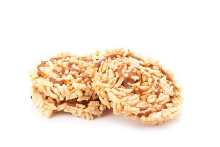 corn chip: Rice cracker isolated on white background Stock Photo