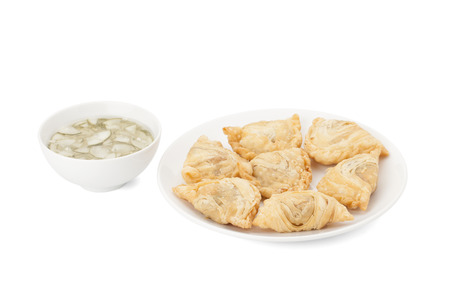 curry puff isolated on white background with path photo