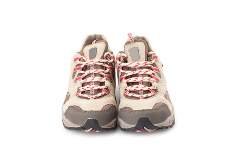hiking shoes: a pair of hiking shoes isolated on a white background