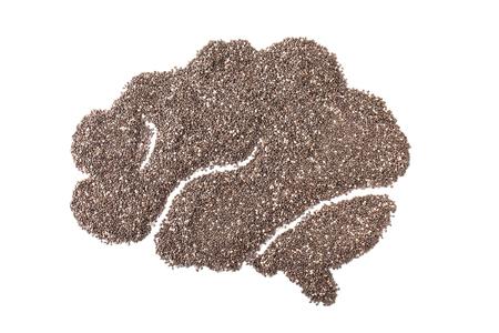 salvia hispanica: chia seeds or salvia hispanica in brain shape isolated on white background Stock Photo
