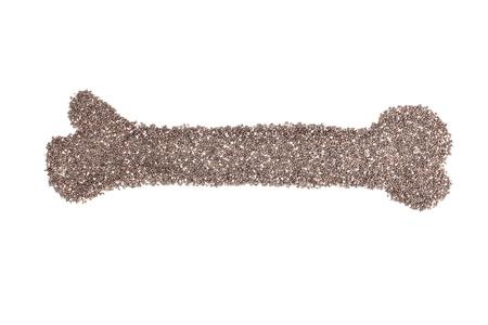 hispanica: chia seeds or salvia hispanica in bone shape isolated on white background