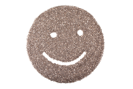 hispanica: chia seeds or salvia hispanica in smile face isolated on white background