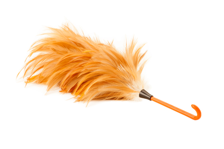 duster: Soft duster with plastic handle on white background