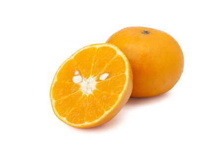 orange fruit isolated on white background with  clipping path and soft shadow Stock Photo