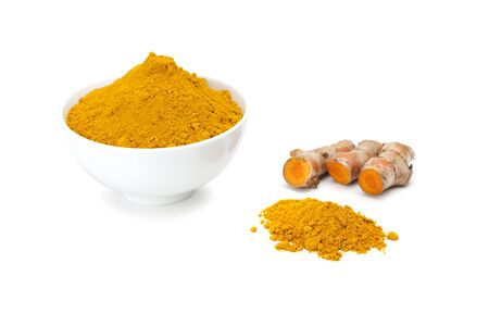 peppery: Turmeric rhizome and turmeric powder in white ceramic bowl isolated on white background Stock Photo