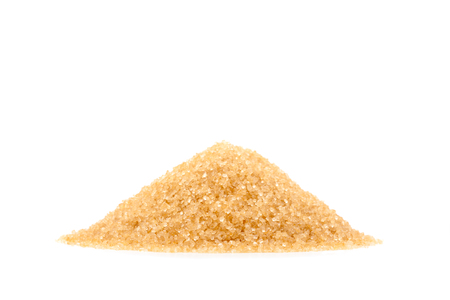 Heap of raw Organic Cane Sugar, Brown sugar isolate on white background