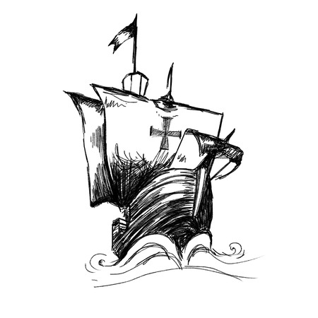 ship of  Christopher Columbus   Hand drawing by black pencil on white background photo