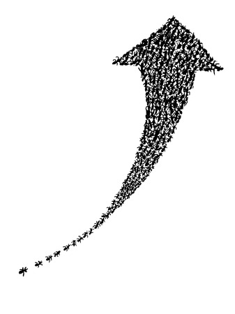 oneness: hand drawing of group of ants show the power of unity to made the arrow pointing up
