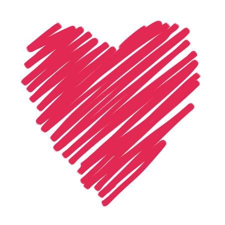 Handtekening van hartkrabbel door kleurpotloodgebruik voor achtergrond