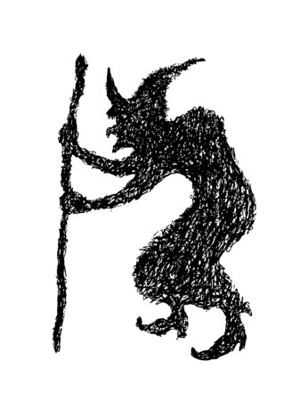 hand drawing of witch silhouette made by pencil use for halloween