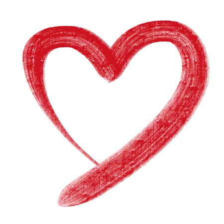 Hand tekening van hart krabbel door krijt Stock Illustratie