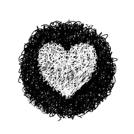 Hand drawing of heart doodle on black circle by crayon