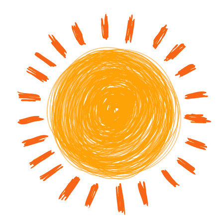 doodle sun hand draw by crayon use for background Ilustrace