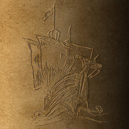 bas relief: Bas relief of Columbus ship on old brown paper  made for Columbus day Stock Photo
