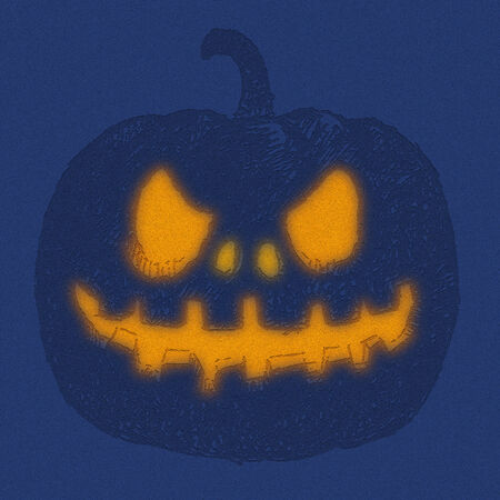bas relief: Bas relief of carving pumpkin on deep blue background , design for Halloween day