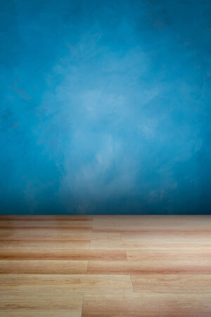 Blue wall and wooden floor , use for background Banco de Imagens
