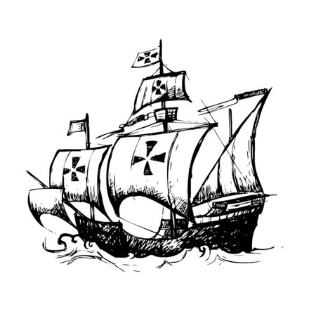 christopher columbus: Columbus ship hand drawn by pencil , use  for Columbus day