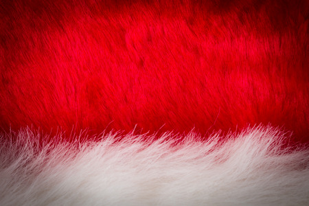 white fabric texture: texture of white and red fur with dark vignette, use for background