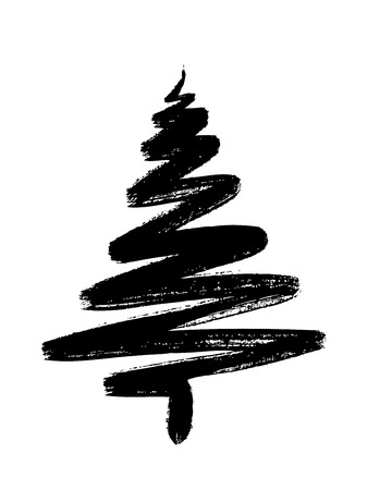 hand drawn Christmas tree isolated on a white background Çizim