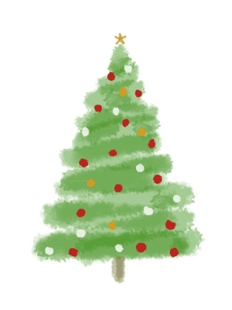 christmas decorations with white background: watercolor  Christmas tree isolated on a white background