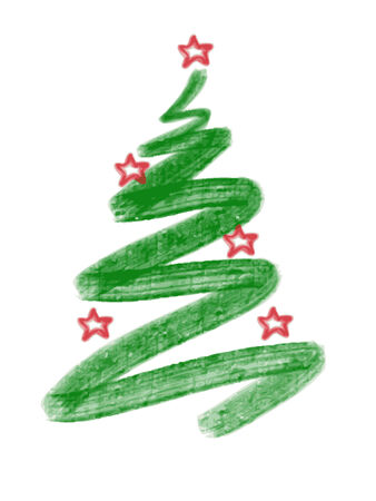 christmas tree hand draw isolated on white background Banco de Imagens - 34658162