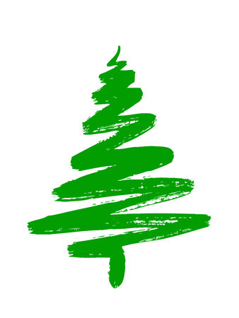 christmas tree hand draw isolated on white background