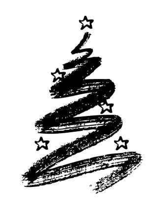 Kerstboom hand tekenen op een witte achtergrond Stockfoto - 34660056