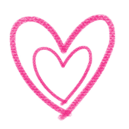 doodle hand drawn pink heart shaped on white background