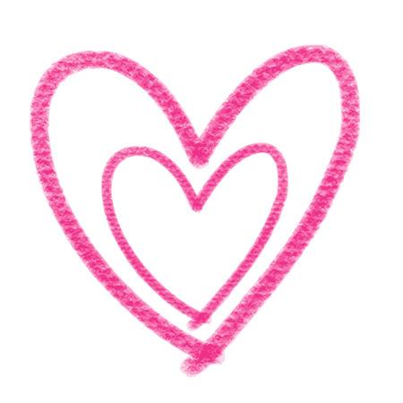 doodle handgetekende roze hartvormige op een witte achtergrond